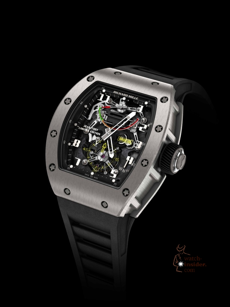 "Richard Mille ""The Tourbillon G-Sensor RM 036 Jean Todt Limited Edition"": New development! Manual winding tourbillon movement with hours, minutes, small seconds at 6 o'clock, G-sensor and function selector."