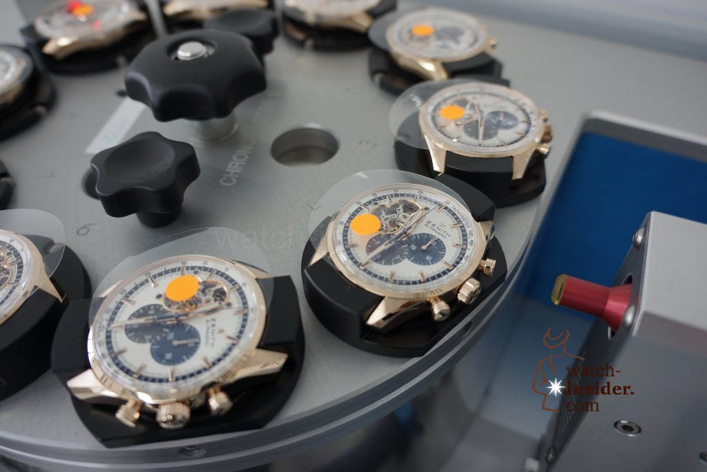 … the machine can test up to ten chronographs at a time …