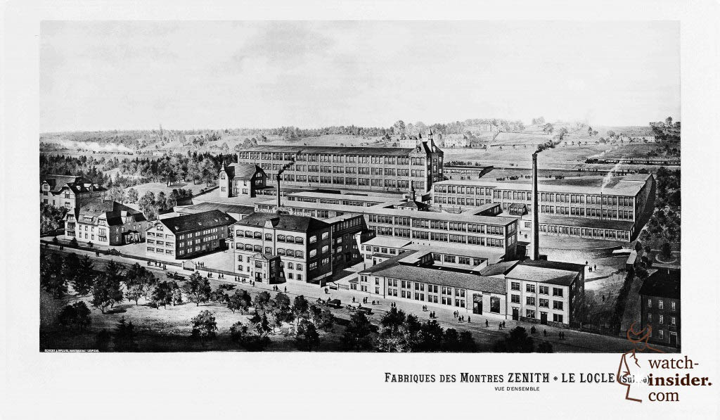 A historical picture of the zenith Manufacture in Le Locle