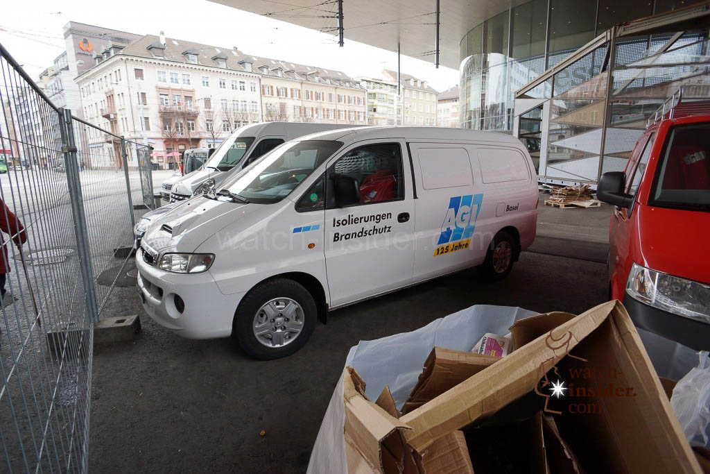 Busy activities everywhere. The van belongs to a fire prevention company.