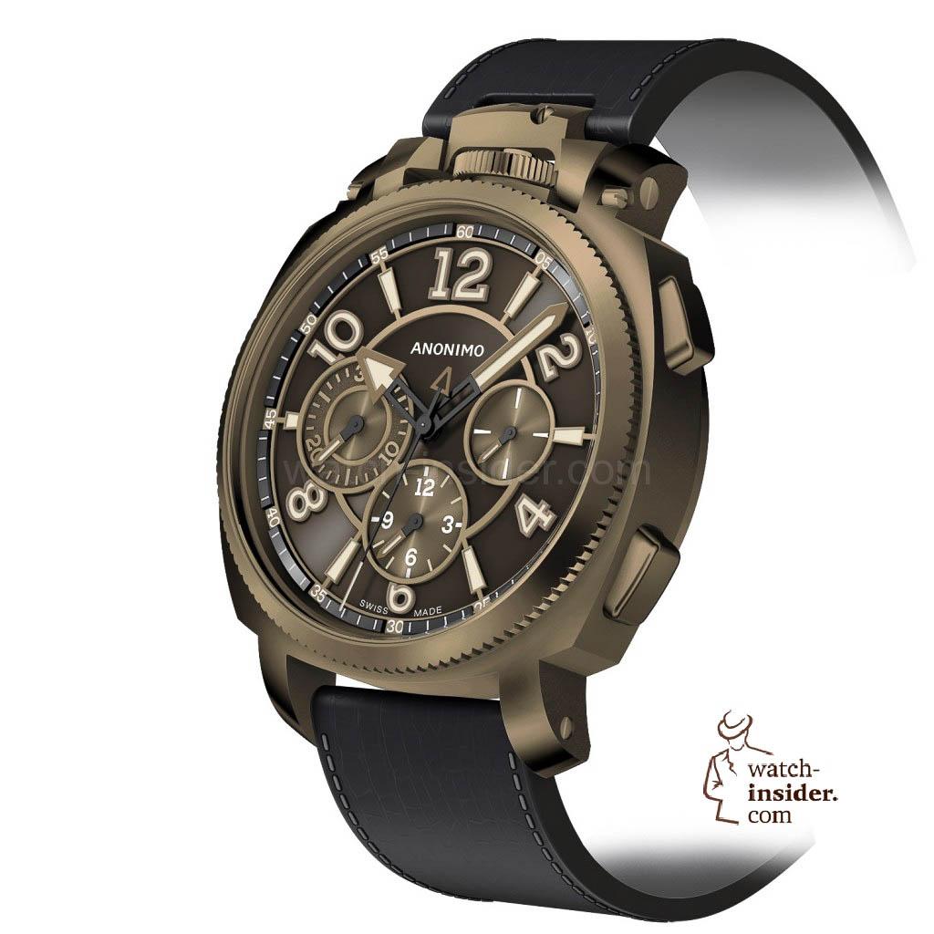 Anonimo MILITARE chrono cadran A3 top bronze brosse vertical
