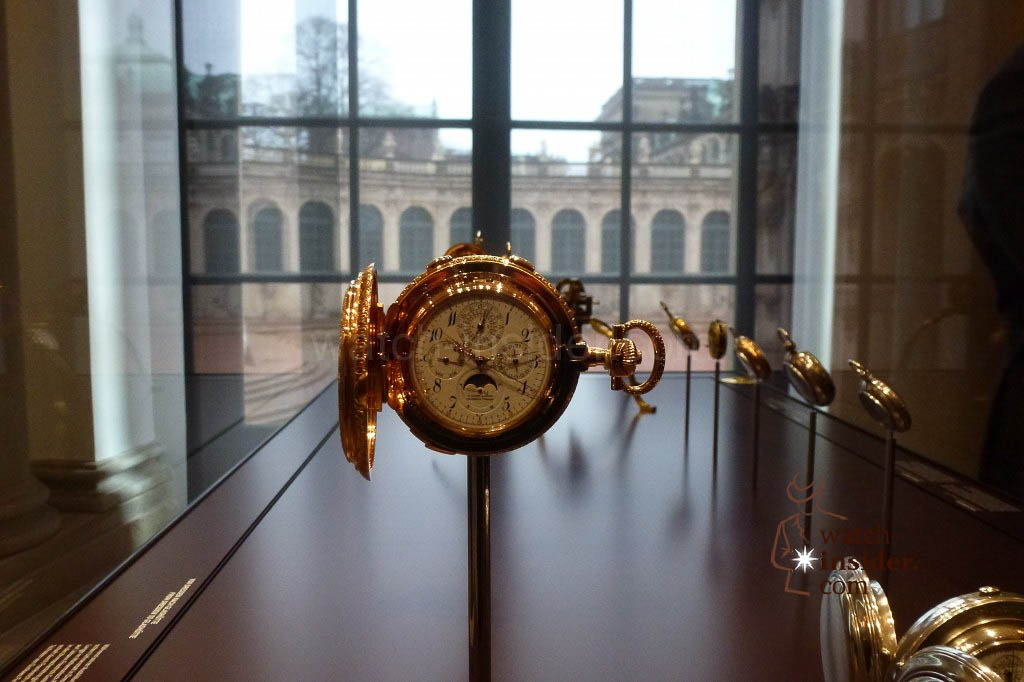 "The famous A. Lange & Söhne ""42500"" pocket watch crafted in 1902, showcased in the Mathematics and Physics Salon"