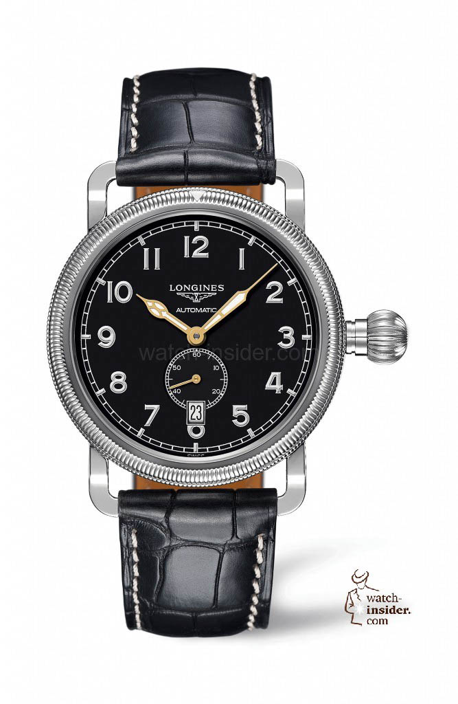 The Longines Avigation Oversize Crown hours, minutes and seconds