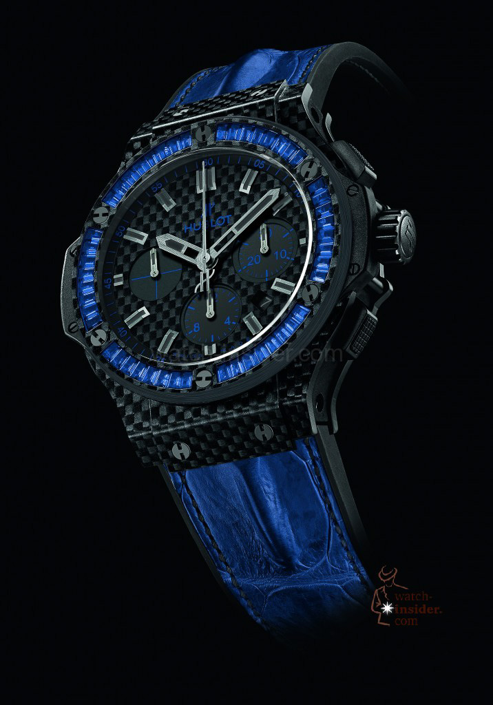 Hublot Big Bang Carbon Bezel Baguette Blue Sapphires