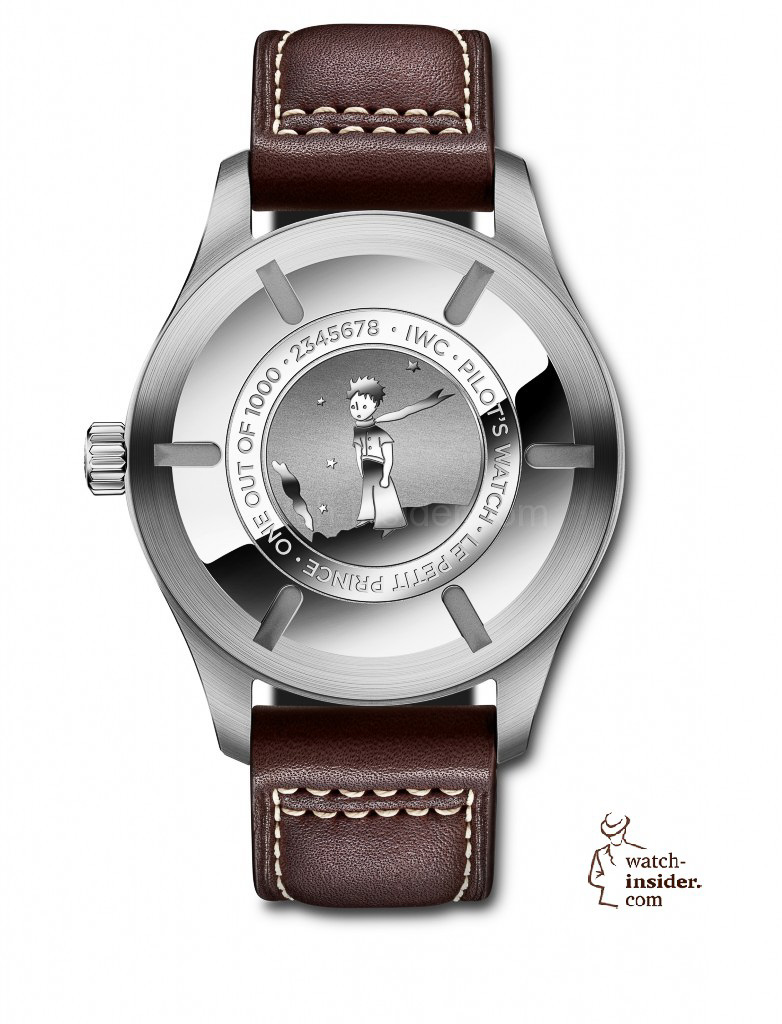 The back of the Pilot's Watch Mark XVII Edition ''Le Petit Prince'' (Ref. IW326506) in stainless steel, limited to 1,000 pieces, is engraved with an image of the little prince standing on his tiny asteroid with his scarf blowing in the wind.