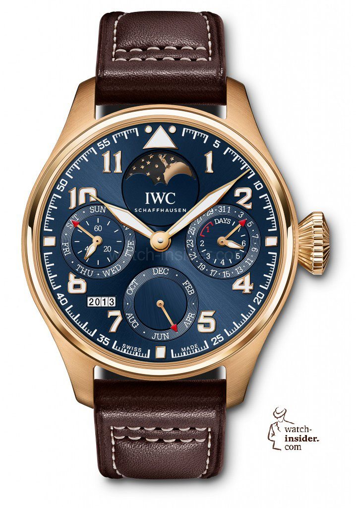With the Big Pilot's Watch Perpetual Calendar Edition ''Le Petit Prince'' (Ref. IW502802) in 18-carat red gold, IWC Schaffhausen celebrates the 70th birthday of the popular story ''The Little Prince'' written by Antoine de Saint-Exupery. This limited to 270 pieces special edition is the first of the Big Pilot's Watches to incorporate a moon phase display.