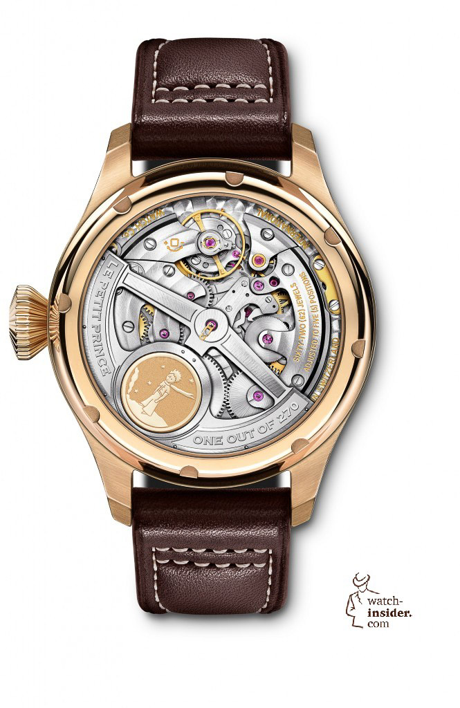 The back of the Big Pilot's Watch Perpetual Calendar Edition ''Le Petit Prince'' (Ref. IW502802), limited to 270 pieces, shows the impressive IWC-manufactured 51613 calibre with Pellaton automatic winding and a 7-day power reserve, as well as a gold medallion engraved with an image of the little prince.