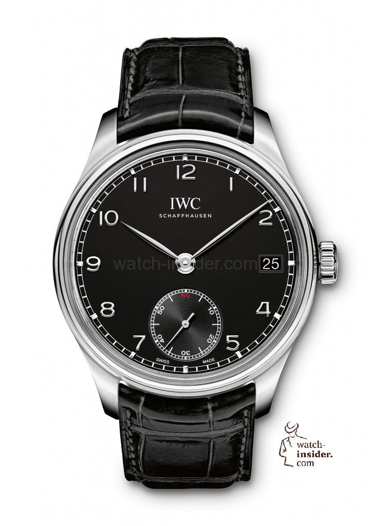 With its Portuguese Hand-Wound Eight Days (here in stainless steel, Ref. IW510202) IWC Schaffhausen extends its fleet of technically sophisticated Portuguese models. The watch owes its distinctive, classic appearance to the new case design with an arched-edge front glass.