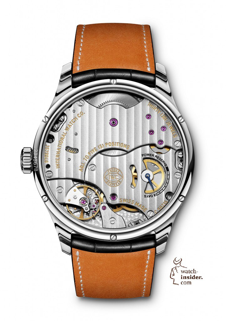The see-through sapphire-glass back of the Portuguese Hand-Wound Eight Days (here in stainless steel, Ref. IW510202) provides a view of the technically sophisticated, rugged and reliable IWC-manufactured 59215 calibre, which makes the watch perfect for everyday use.