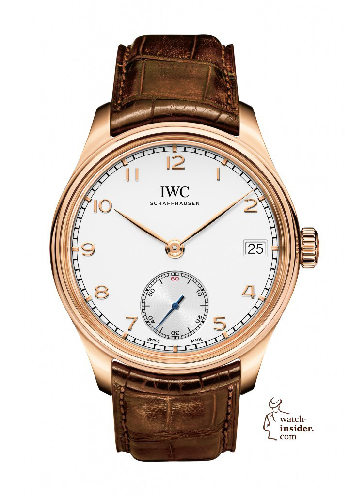 The Portuguese Hand-Wound Eight Days (here in red gold, Ref. IW510204) with its silver-plated dial, Arabic numerals and characteristic feuille-style hands is the essence of simple aesthetics.