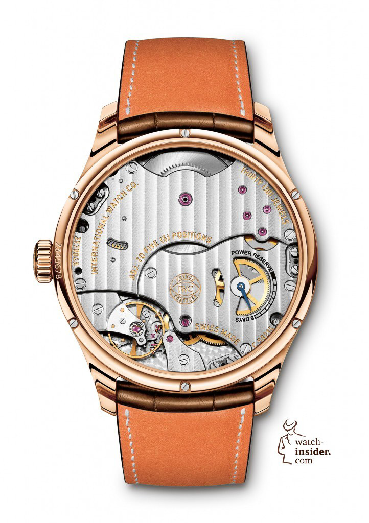 The Portuguese Hand-Wound Eight Days (here in red gold, Ref. IW510204) from IWC Schaffhausen comes with a Santoni leather strap. Apart from the characteristic gradations of colour, the strap also features SantoniÕs trademark orange leather lining.