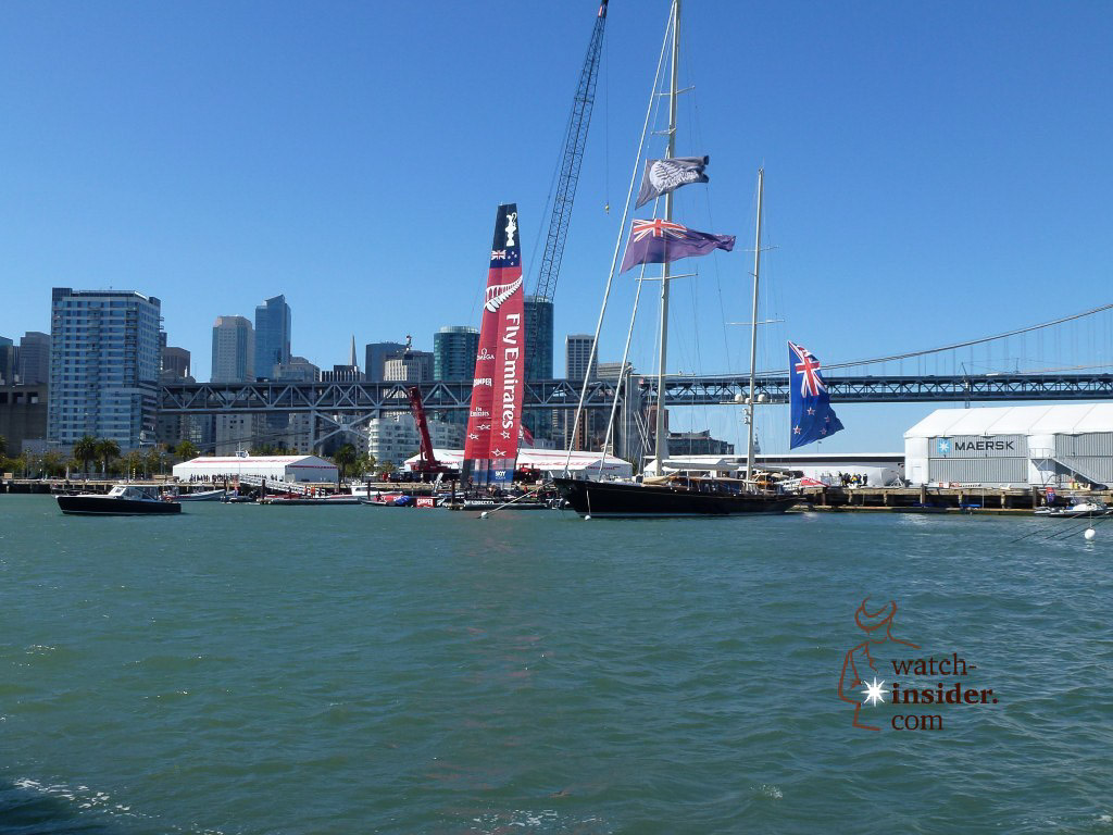 The ETNZ AC72 catamaran back at Pier 32 after the today´s races