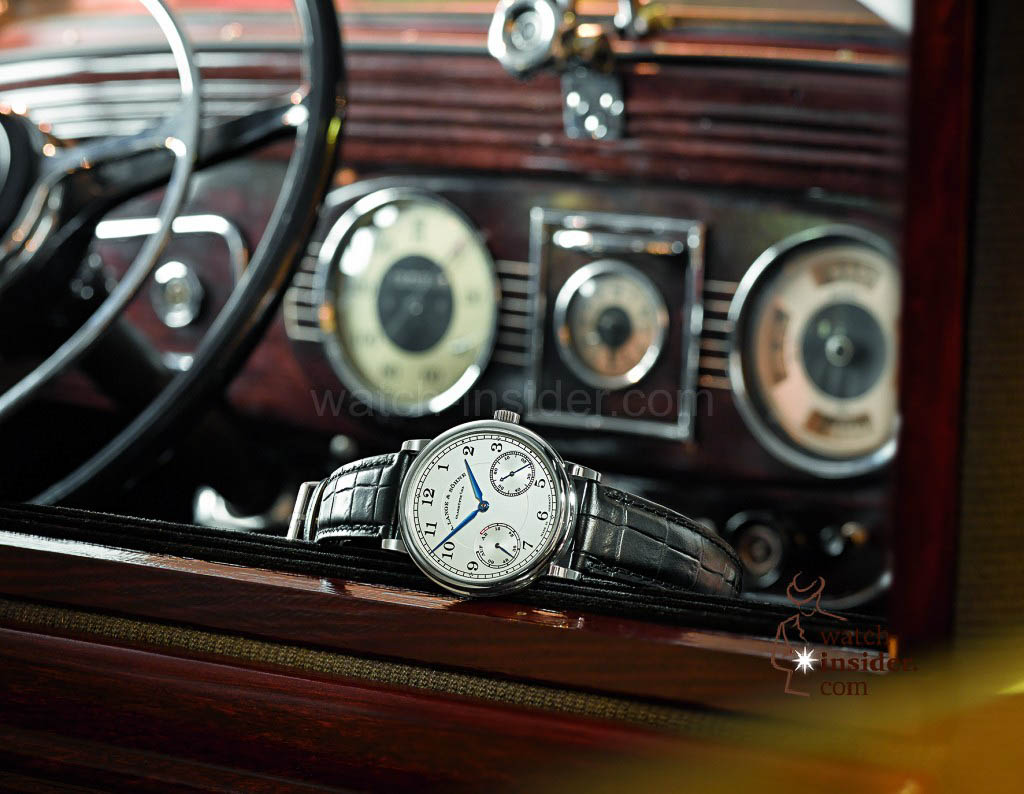 A. Lange & Söhne 1815 Up/Down in white gold in a Horch 830 BL Pullmann.