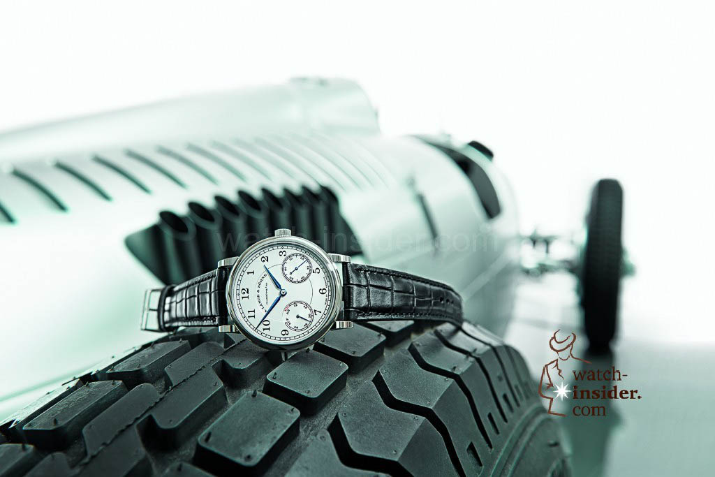 White gold and Silver Arrow: A. Lange & Söhne 1815 Up/Down and Auto Union racing car Type C.