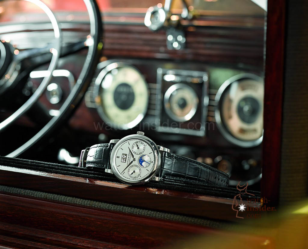 The A. Lange & Söhne Saxonia Annual Calendar in a Horch 830 BL Pullmann.