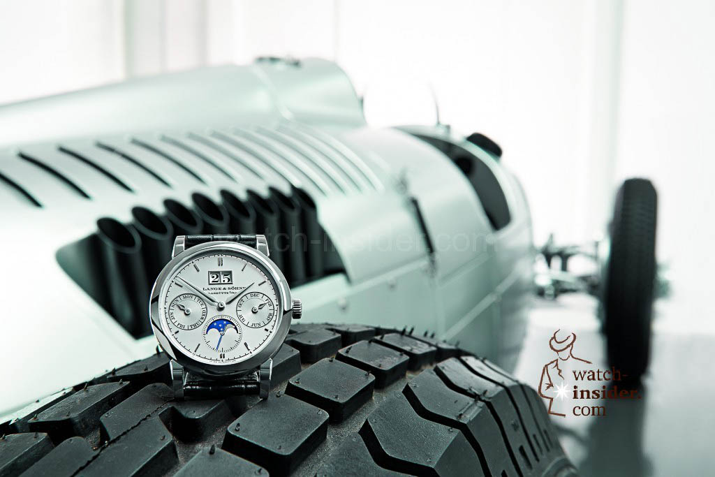 A. Lange & Söhne Saxonia Annual Calendar in platinum and Auto Union racing car Type C.