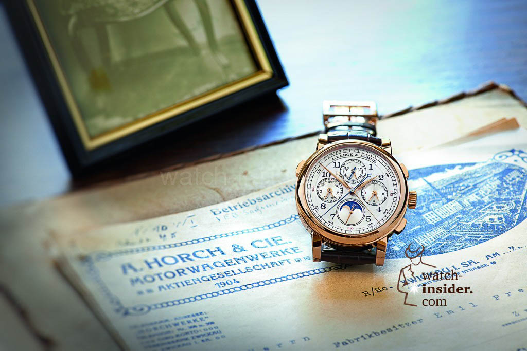 A. Lange & Söhne 1815 Rattrapante Perpetual Calendar and historical letters on the original writing desk of August Horch.