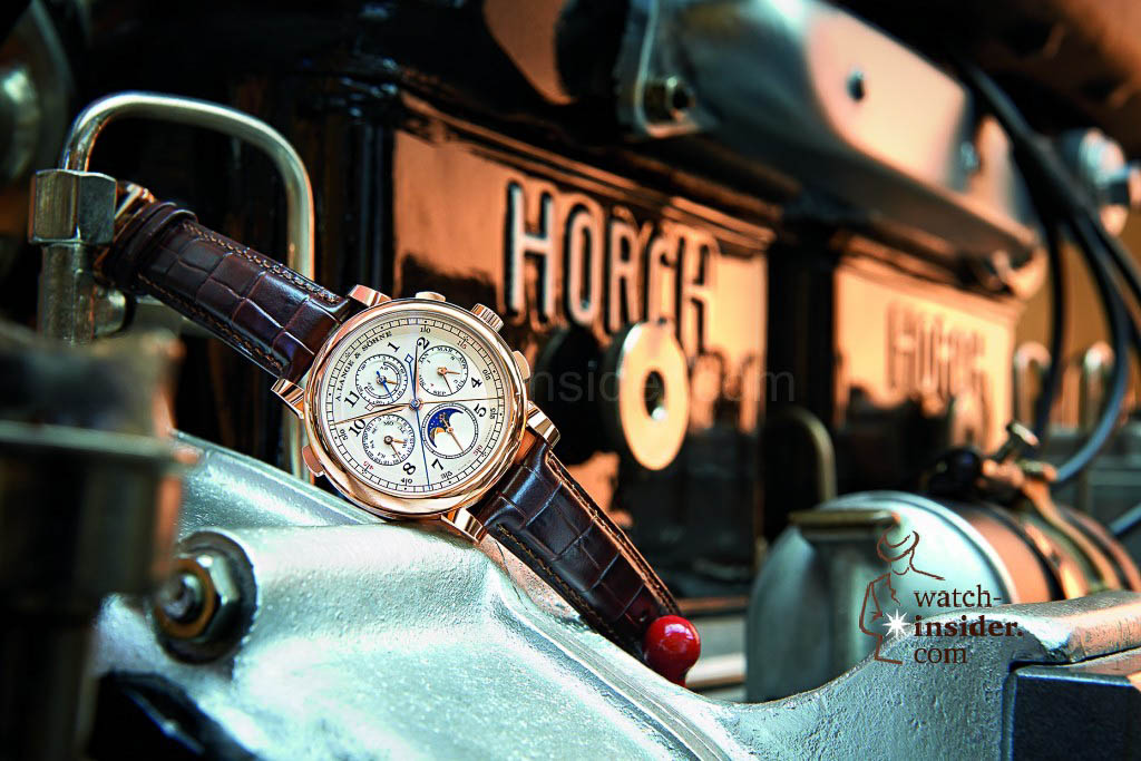 Precision, past and present: A. Lange & Söhne 1815 Rattrapante Perpetual Calendar on a 1919 Horch four-cylinder engine (14/40 HP).