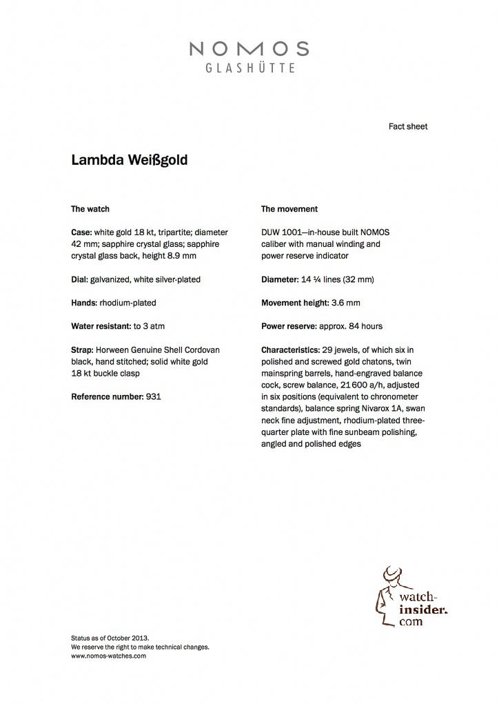 NOMOS Lambda Weissgold engl