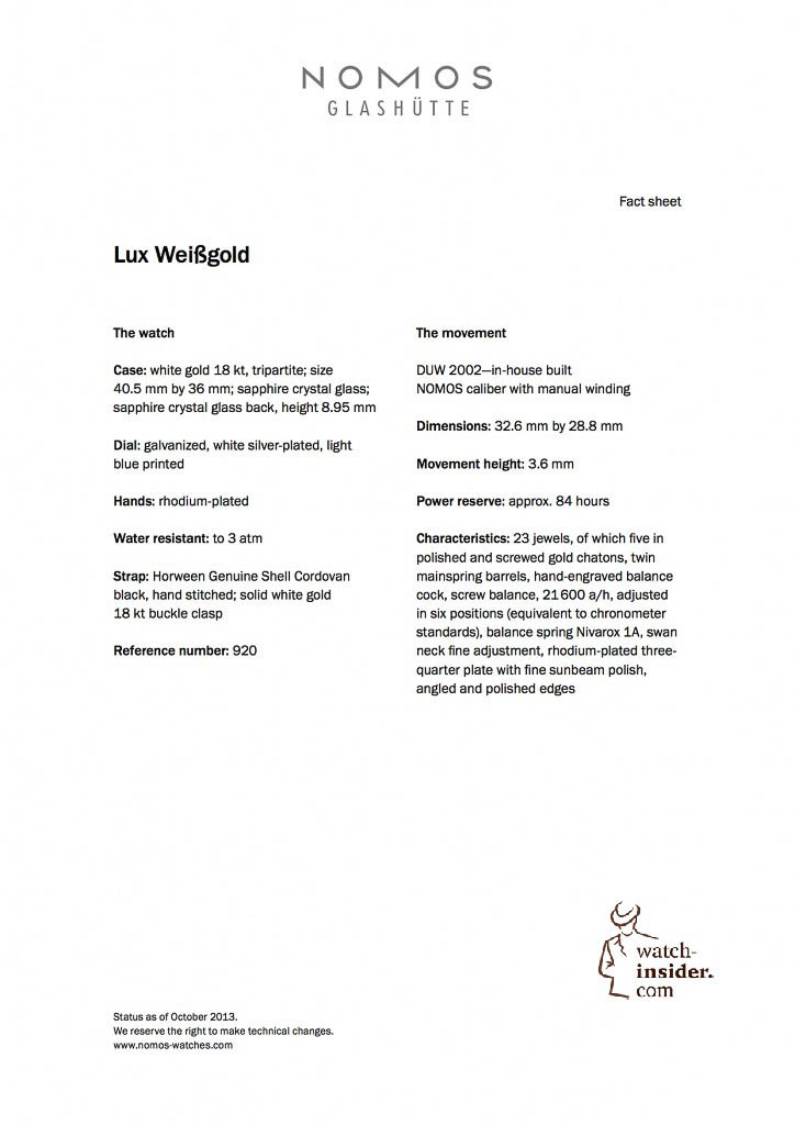 NOMOS Lux Weissgold engl