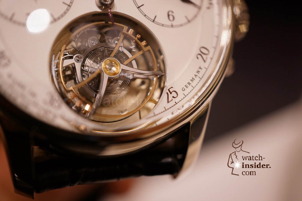 Moritz Grossmann Benu Tourbillon. By enlarging the picture you can see the stop seconds with a fine-hair brush