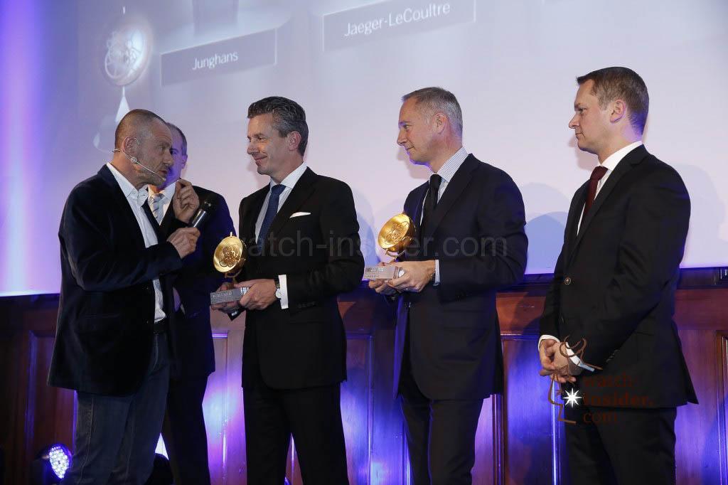 Alexander Linz interviewing Jaeger-LeCoultre CEO Daniel Riedo, A. Lange & Söhne CEO Wilhelm Schmid (right) listening.