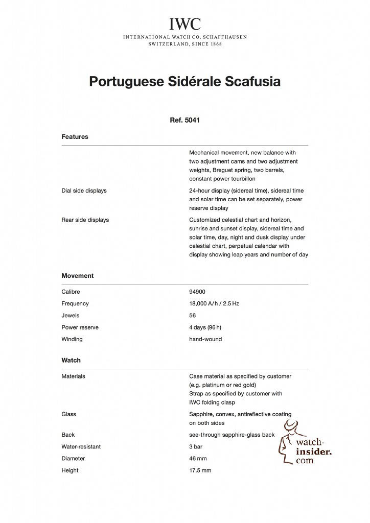 IWC Portuguese Sidérale Scafusia Technical data´s