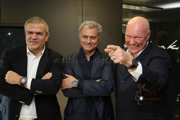 Hublot CEO Ricardo Guadalupe, José Mourinho and Hublot President Jean-Claude Biver