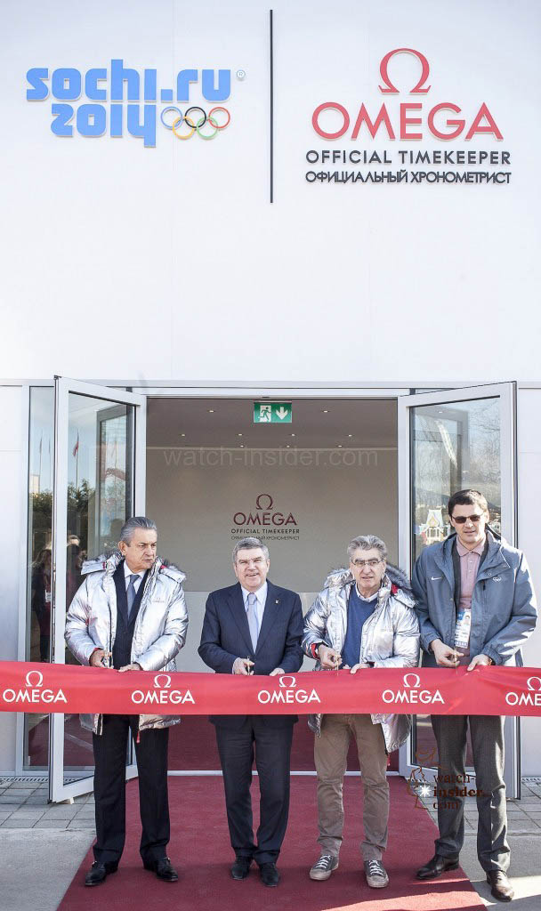 OMEGA President Stephen Urquhart, IOC President Thomas Bach, Swatch Group CEO Nick Hayek and swimming legend and IOC member Alexander Popov (from left to right) cut the ribbon at the opening ceremony of the OMEGA Pavilion in Sochi.