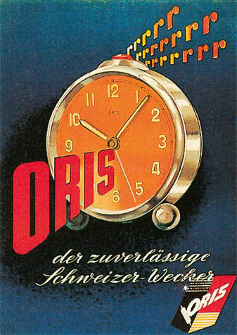 An advert for an Oris alarm clock, published in 1942.