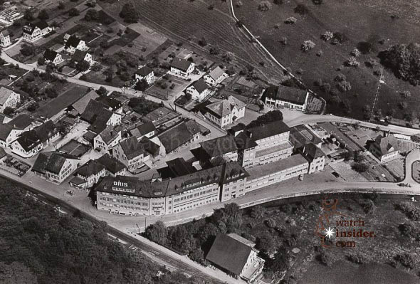 A photo taken in 1953 of the Oris factory in Hölstein, where the company has been based since 1904.