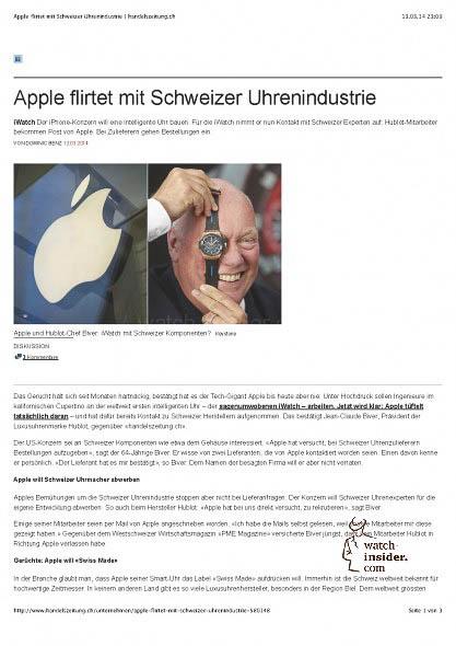 Apple flirtet mit Schweizer Uhrenindustrie | handelszeitung.ch