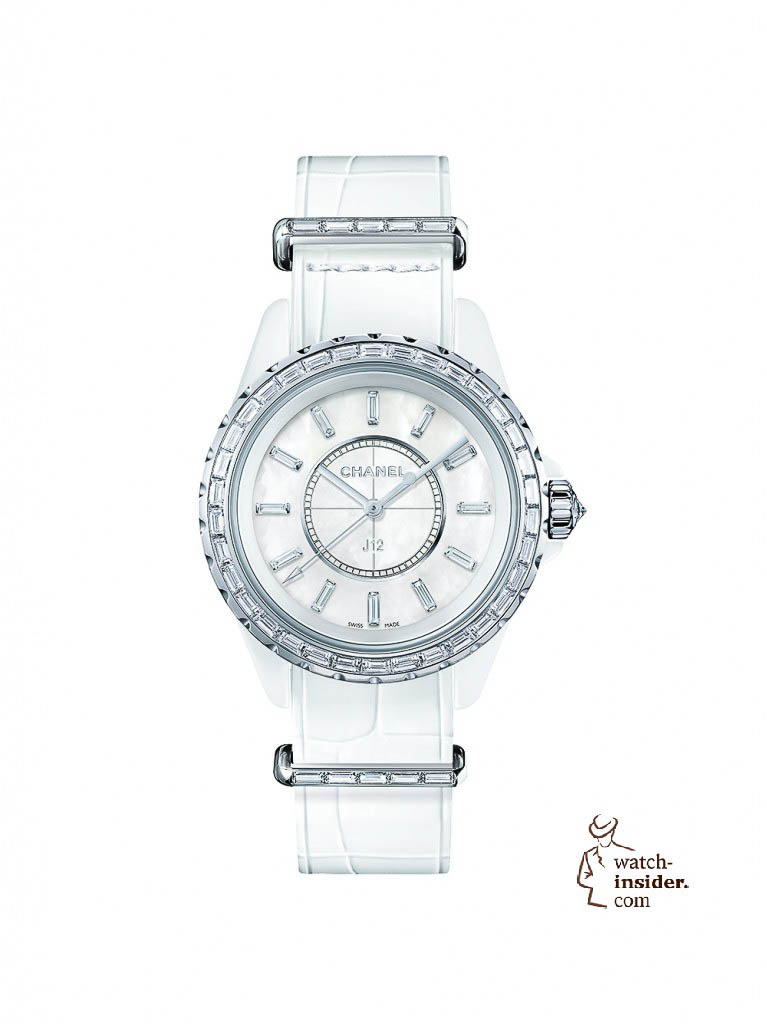 Chanel J12 with crocodile leather Nato strap including diamond set loops
