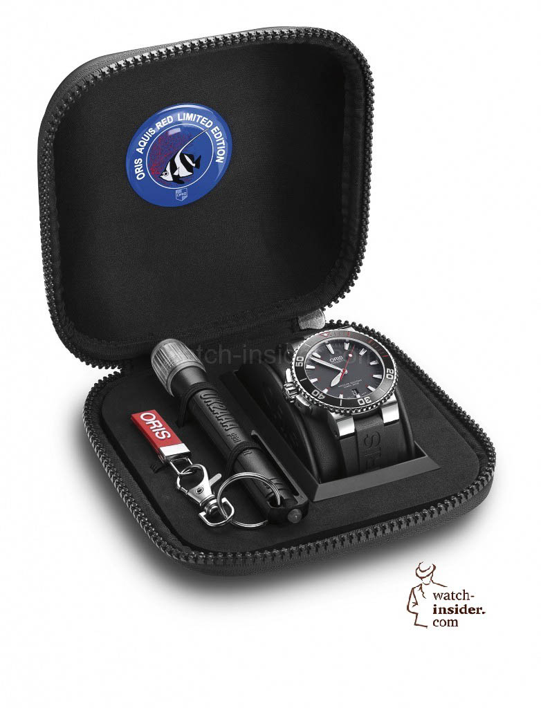 The new Oris Aquis Red Limited Edtion comes with a sepcial box including a waterproof torch.