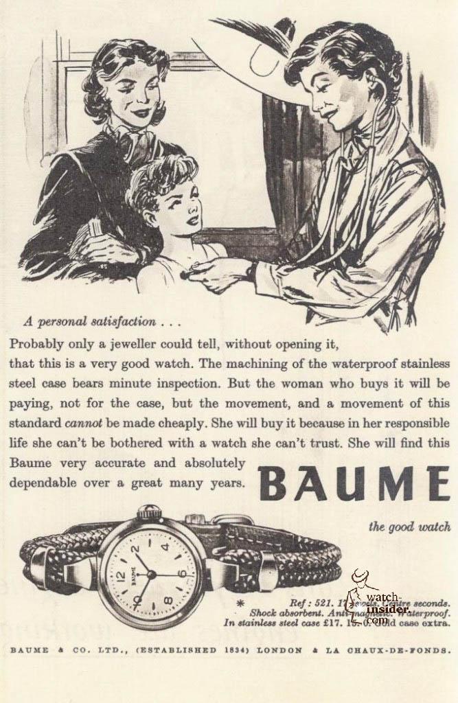 Baume & Mercier advertising from 1956