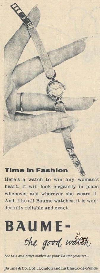 Baume & Mercier advertising from 1959