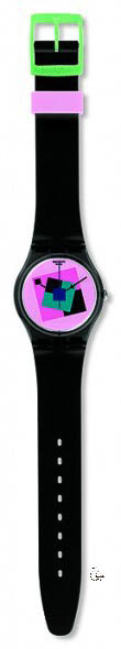 GA109 CRAZY SQUARE Model: Gent Dial: pink with multicolored geometric prints Case: transparent polished black plastic Bracelet: solid black and pink double-layer silicone with pink loop