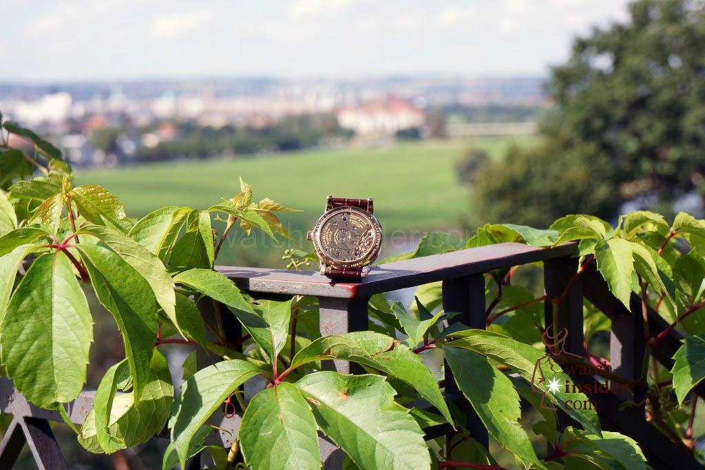 The Lange 1 posing at the Eckberg Castle. In the background you see Dresden.