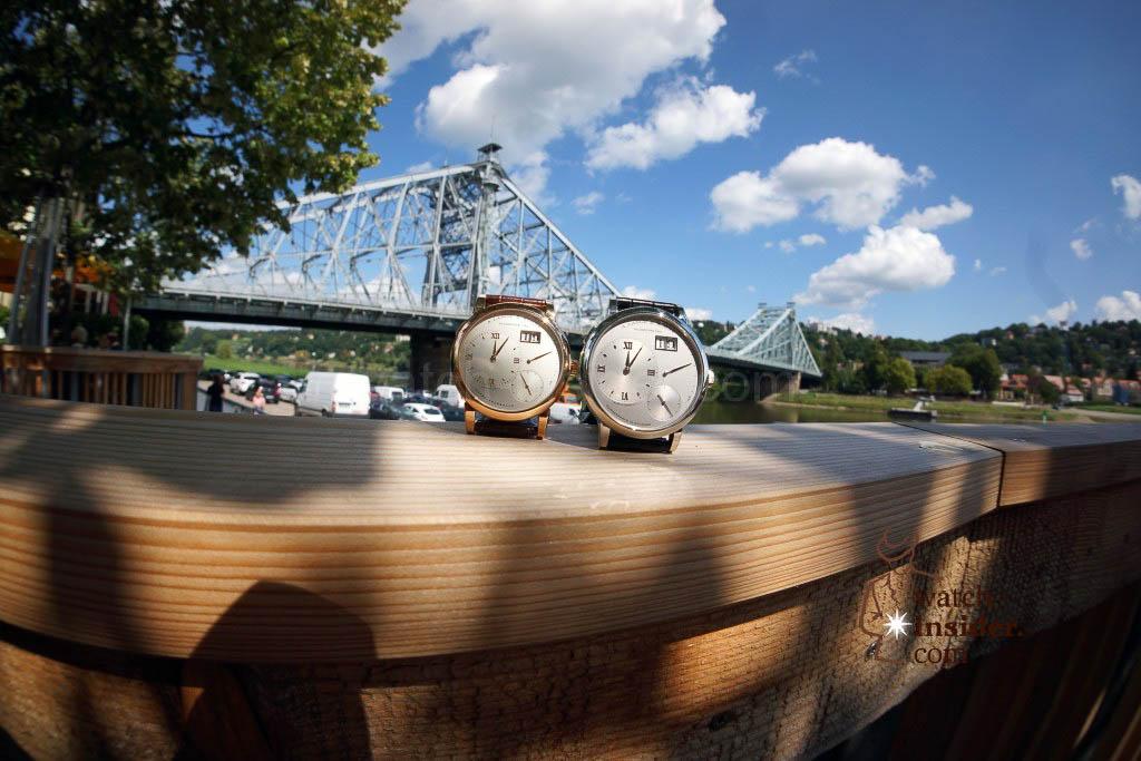 The Lange 1 posing at the Blue Wonder Bridge (das blaue Wunder)