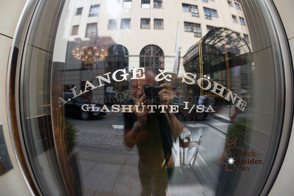 Standing in front of the A. Lange & Söhne boutique in Dresden