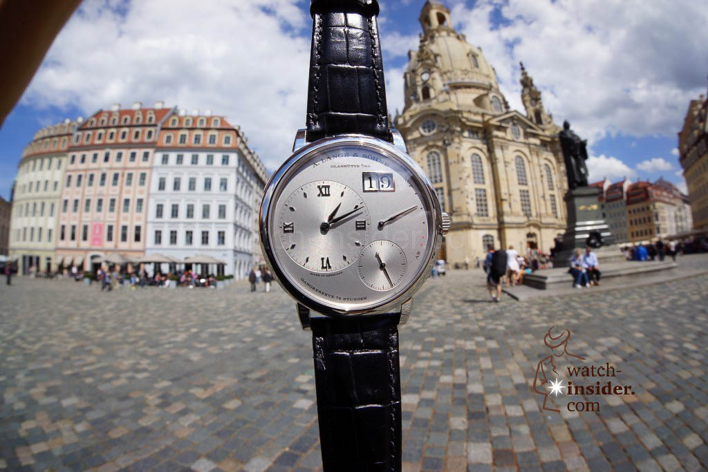 A. Lange & Söhne Lange 1 and the Frauenkirche in Dresden