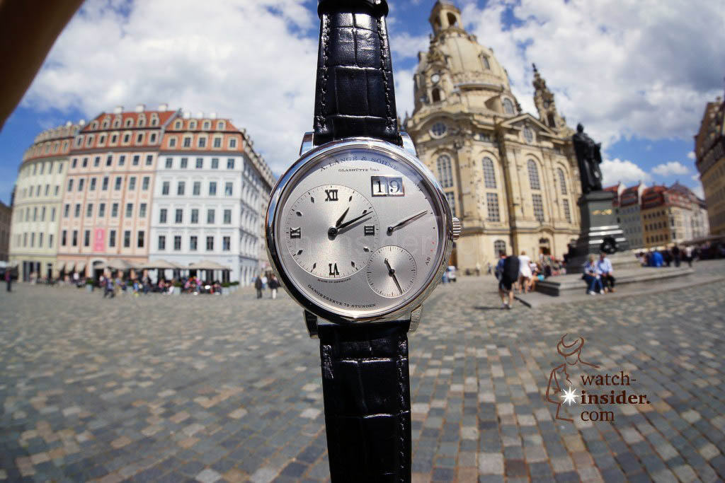 The Lange 1 in front of the Frauenkirche in Dresden