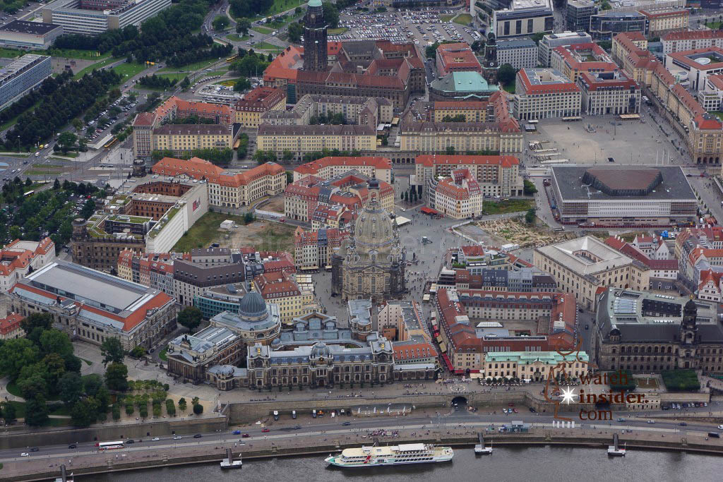 The historic center of Dresden seen from the helicopter