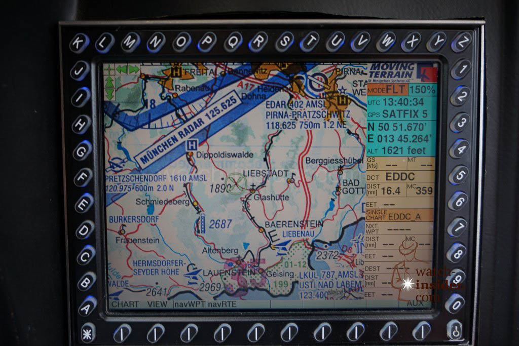 Our helicopter´s electronic map showing Glashütte