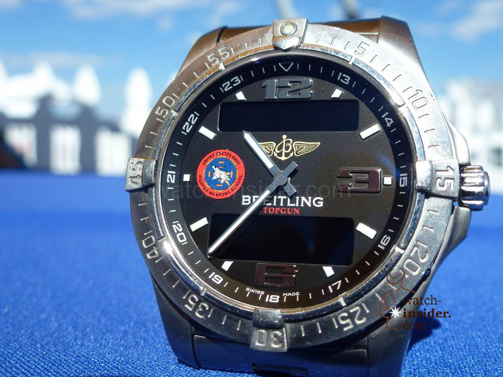 Breitling Aerospace Top Gun. The wristwatch the United States Navy Fighter Weapons School instructors wear.