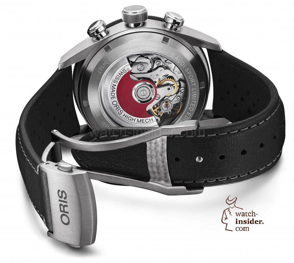 The case back of new Oris Audi Sport Limited Edition reveals Oris' Oris's Calibre 774 and its distinctive red rotor.