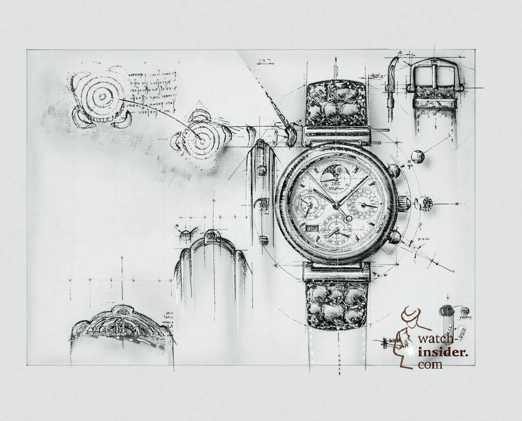 Design sketches of the Da Vinci 3750. The case of the Da Vinci watch was derived from a sketch of a fortress building of Leonardo Da Vinci.