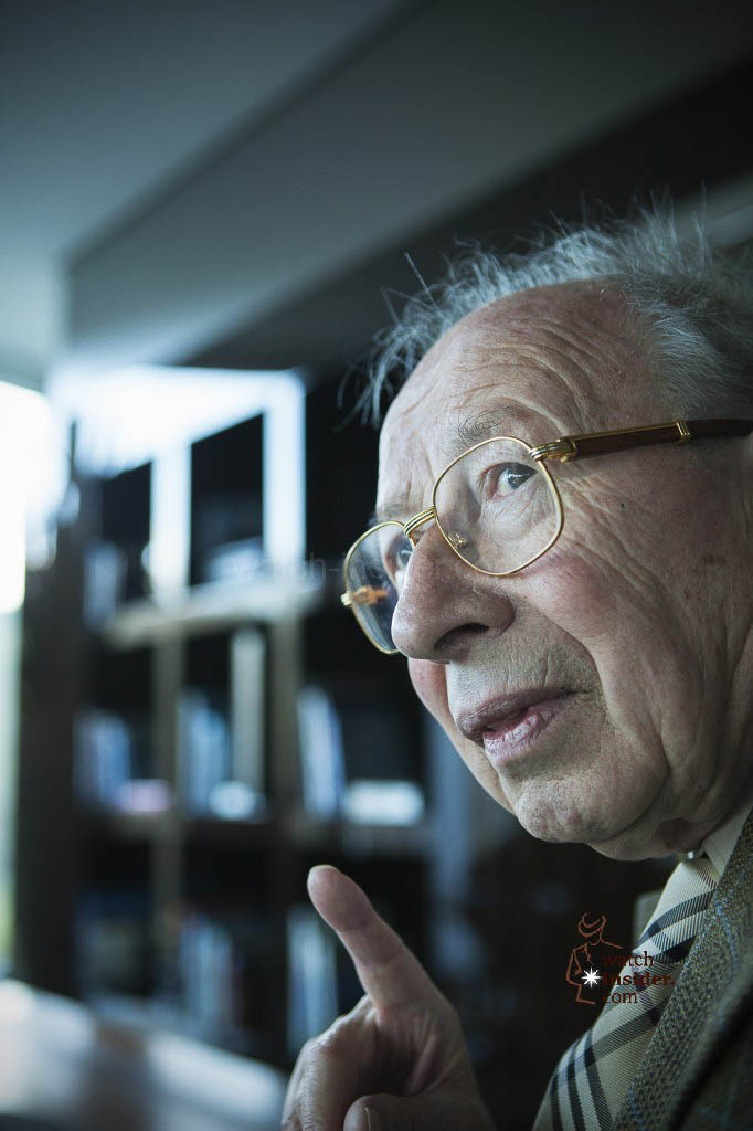 Portrait of Kurt Klaus talking about watchmaking.