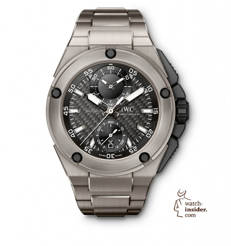 The Ingenieur Chronograph Edition ''Lewis Hamilton'' (Ref. IW379602) from IWC Schaffhausen is equipped with the IWC-manufactured 89361 calibre and features a titanium case, black carbon-fibre dial and titanium bracelet with precision-adjustment clasp. The unique timepiece is limited to 250 watches.