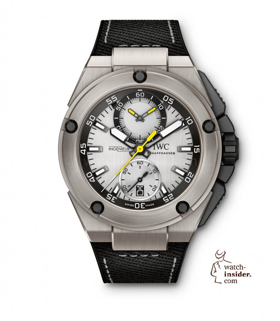 The Ingenieur Chronograph Edition ''Nico Rosberg'' (Ref. IW379603) from IWC Schaffhausen is equipped with the IWC-manufactured 89361 calibre and features a titanium case, silver-plated dial and rubber strap with embossed calfskin inlay. The yellow colour of the seconds hand and of the hands in the totalizer at ''12 o'clock'' recalls the neon yellow helmet that was Nico Rosberg's trademark for 7 years. The unique timepiece is limited to 250 watches.